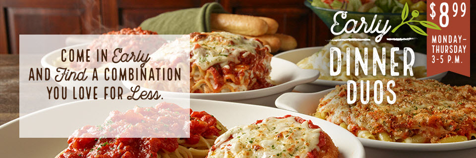 Olive garden early dinner deal eatdrinkdeals - What are the specials at olive garden ...