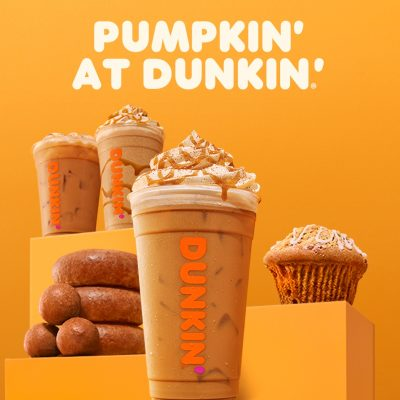 Pumpkin coffees and treats at Dunkin