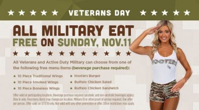 Hooters free meal for veterans day