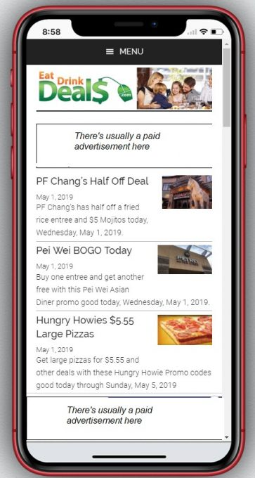 EatDrinkDeals home page on an iPhone XR