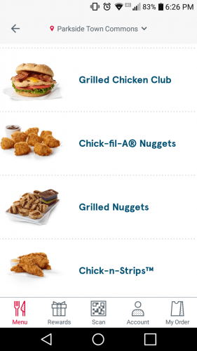 Screenshot of Chick-fil-A app menu