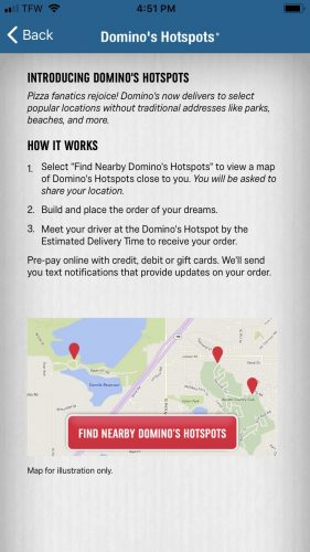 Domino's App - Hotspots Screenshot