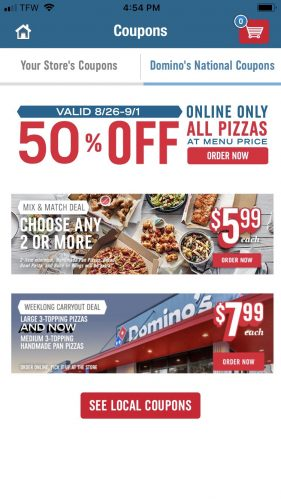 Domino's App Screenshot of Coupons