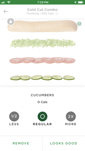 Subway App Screenshot of Sandwich Customization
