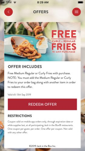Jack in the Box Free Fries