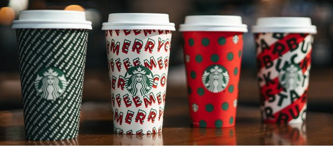 Starbucks 4 holiday cups for 2019