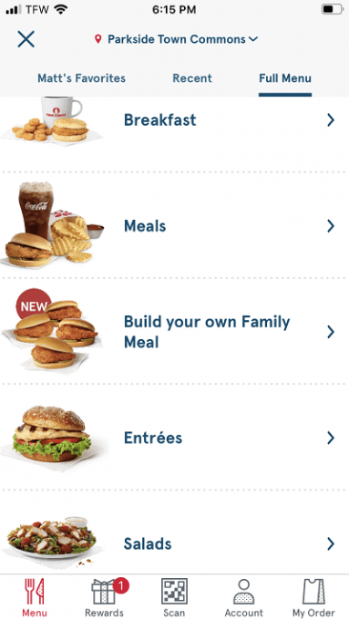 Chick Fil A App screenshot