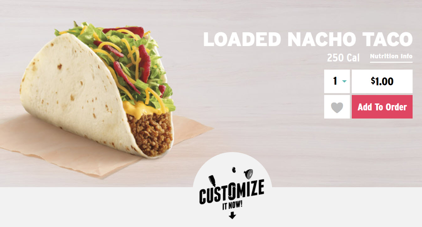 Taco Bell Loaded Nacho Taco