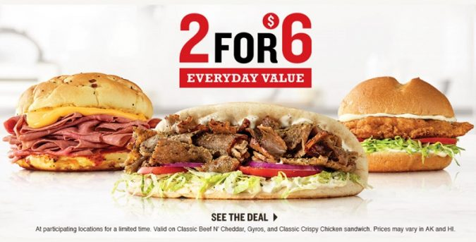 Arby's 2 for $6 Deal
