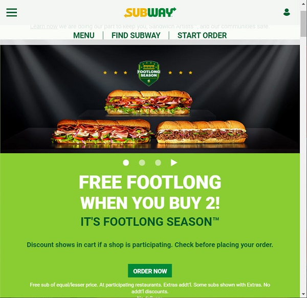 Subway Buy Two Get One Free