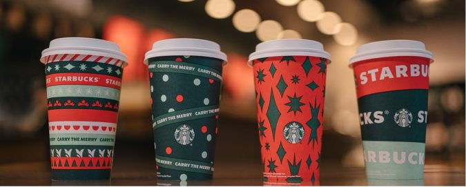 Starbucks 2020 Holiday Cups, from left: Ribbon, Dot, Sparkle and Brand Wrap (Photo courtesy Starbucks)