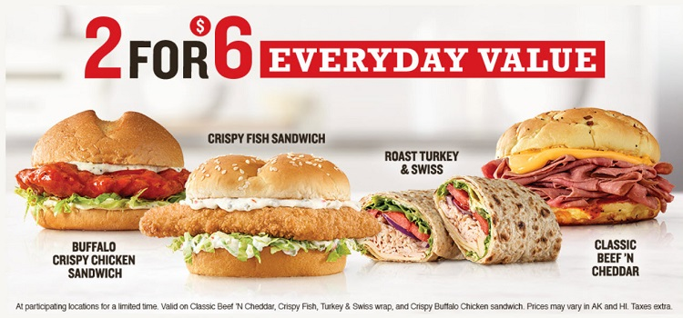 Arby's 2 for $6 Value Menu