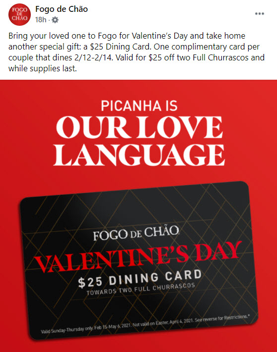 Fogo de Chao Valentine's Day Offer