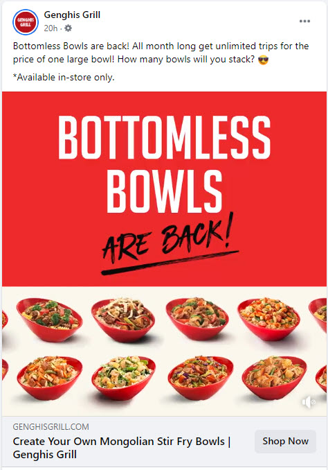 Genghis Grill Bottomless Bowls