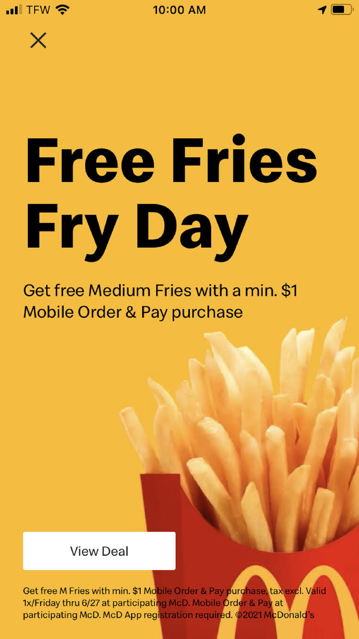 McDonald's Free Fry Day