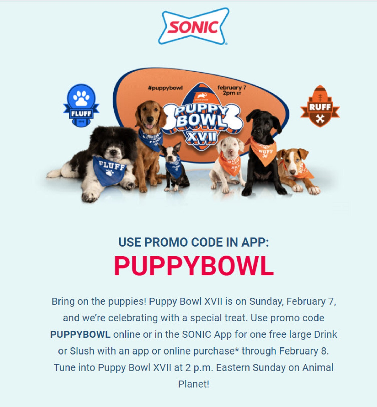 Sonic Puppy Bowl Free Drink or Slush Code