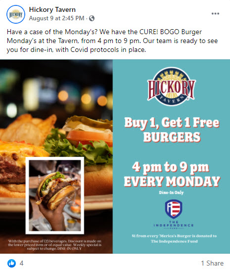 Hickory Tavern Buy One Get One Free Burgers Monday deal