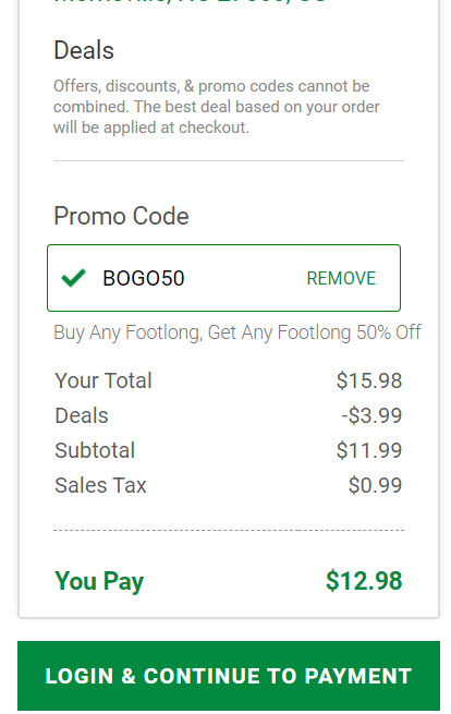 Subway Buy One Get One 50% Off Coupon Code