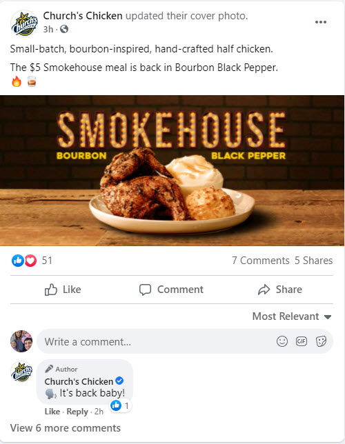 Church's Chicken $5 Smokehouse Chicken Combo Meal Deal