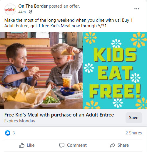 On The Border $1 Kids Meal