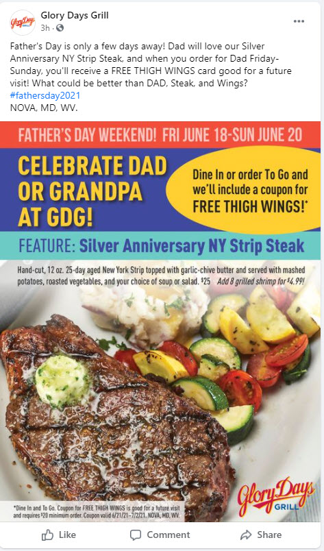 Glory Days Father's Day Deal