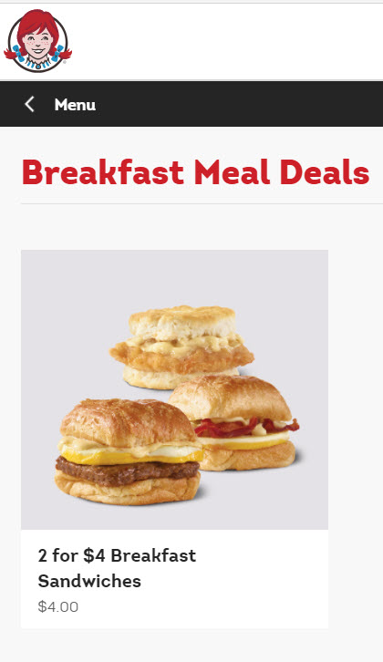 Wendy's 2 for $4 Breakfast Sandwiches Deal