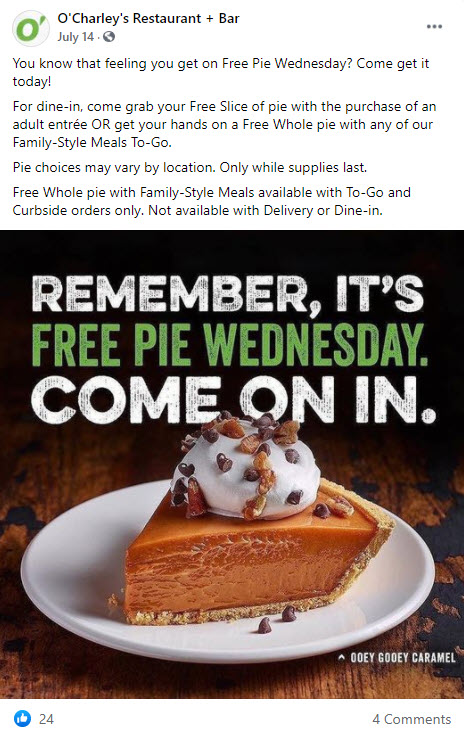 O'Charley's Free Pie Wednesday Deal