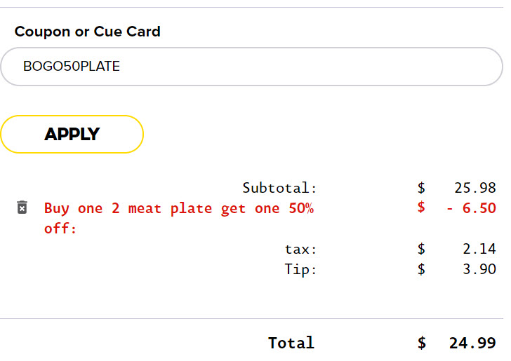 Dickey's Buy One ,Get One 50% Off Plate Promo Code