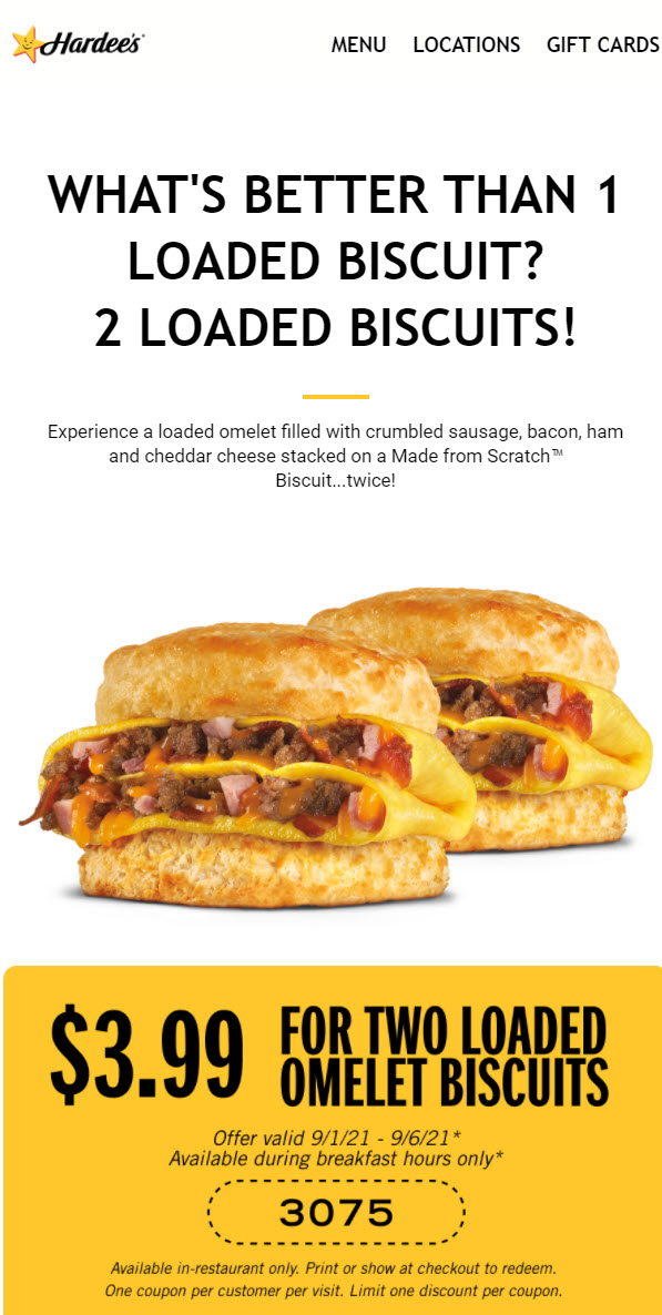 Hardee's Loaded Omelet Biscuits Coupon
