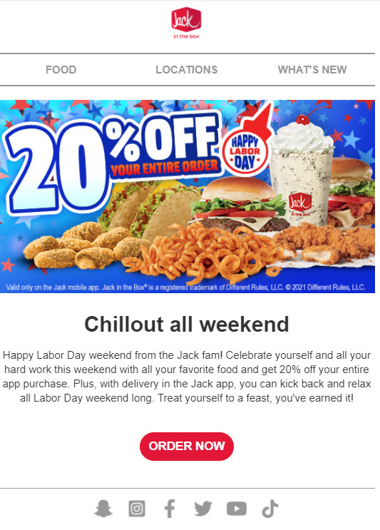 Jack In The Box 20% Off
