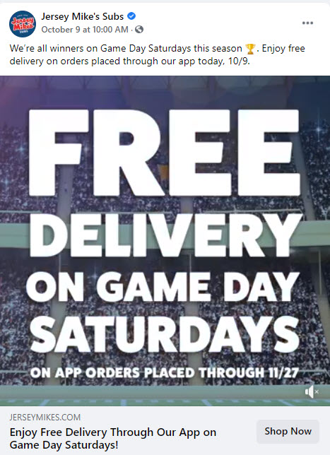 Jersey Mike's Free Delivery Deal