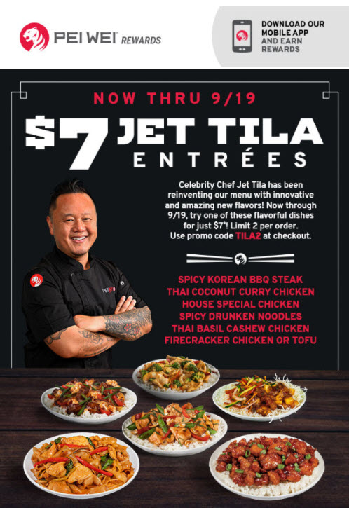Pei Wei $7 Entrees Deal