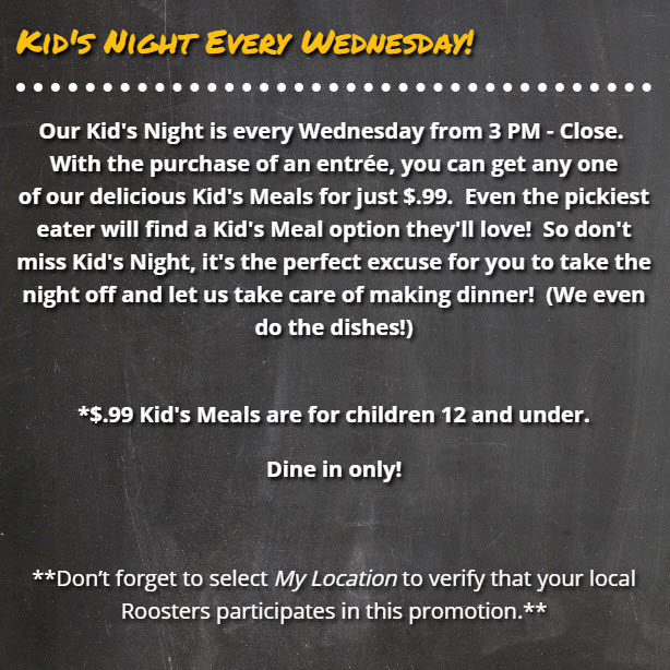 Roosters Kids Night Wednesday $0.99 Deal