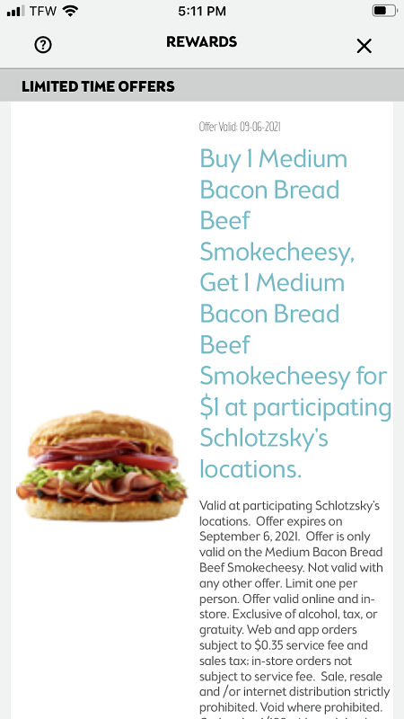 Schlotsky's Buy One Get One For $1 Deal