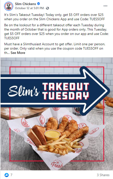 Slim Chickens Takeout Tuesday