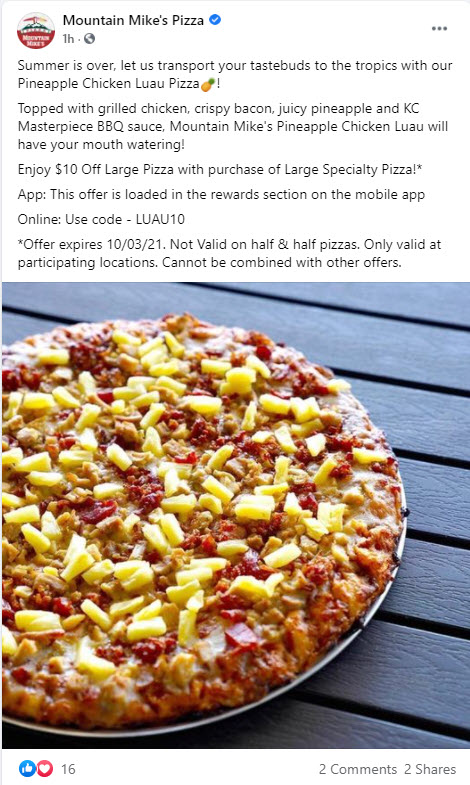 Mountain Mike's $10 Off