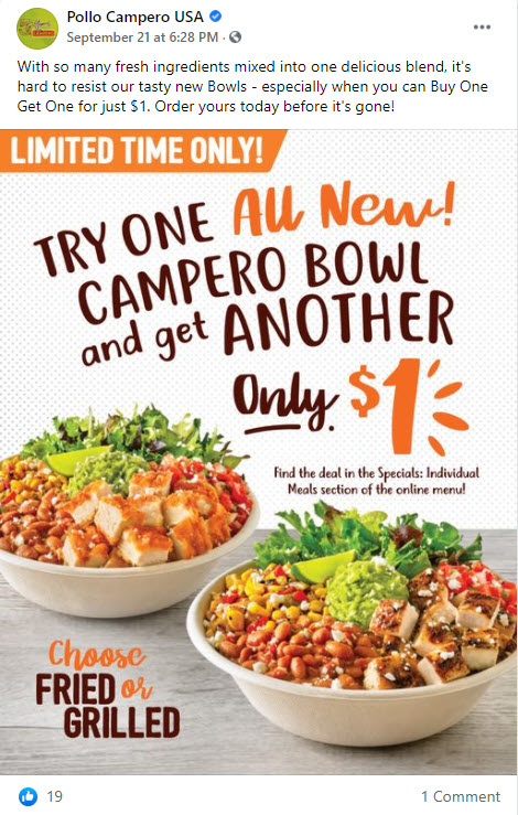 Pollo Campero Buy One Get One For $1