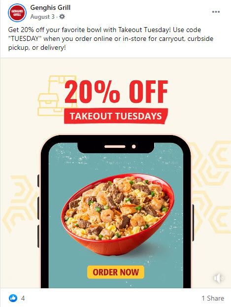 Genghis Grill 20% Off Tuesday